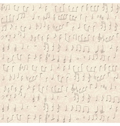 seamless old paper texture with music notes vector image
