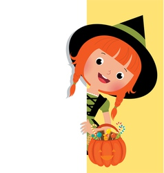 Halloween witch holding a white banner vector