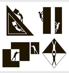 Black and white geometric men vector