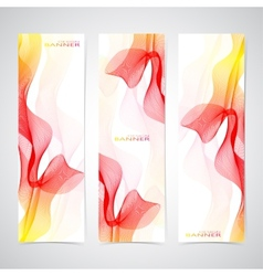 Colorful vertical set of banners smoky waves vector