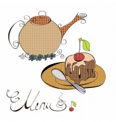 menu with cake and teapot vector image