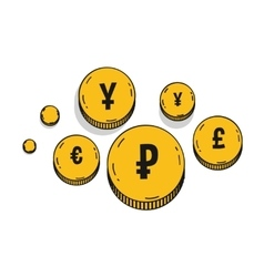 Currency symbols golden coins icons isolated on a vector