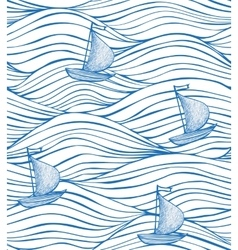 White background with blue waves and boats vector