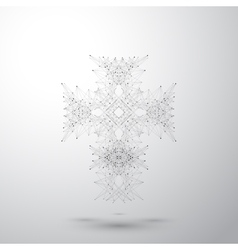 Religious cross on the gray background connected vector