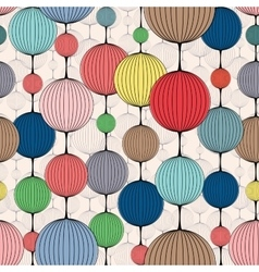 Seamless pattern of colorful ball chains vector