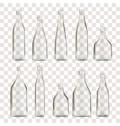 set of transparent empty bottles vector image