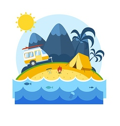 Summer beach camping landscape vector