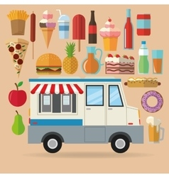 Delicius food truck icon delivery concept vector