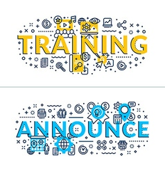 Training and announce headings titles horizontal vector