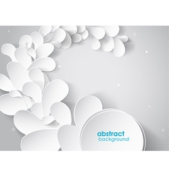 Abstract background with white 3d paper flower vector