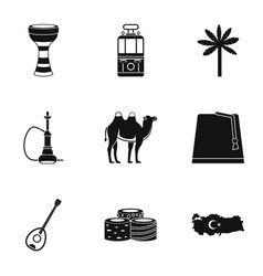 Ankara map icons set simple style vector