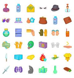 Arrest icons set cartoon style vector