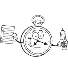 Cartoon watch holding a paper and pencil vector image vector image