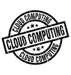 Cloud computing round grunge black stamp vector