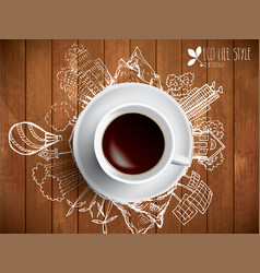 coffee cup concept - eco doodles with coffe mug vector image