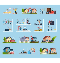 Conflicts with neighbors icons set vector