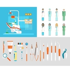 Dental office set dentists instruments vector image