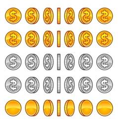 Dollar coins rotation vector image vector image