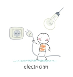 Electrician insert the plug into the socket and vector