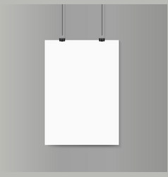 Empty vertical white paper poster mockup on grey vector