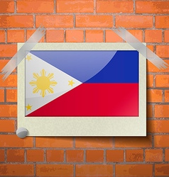 Flags philippiines scotch taped to a red brick vector