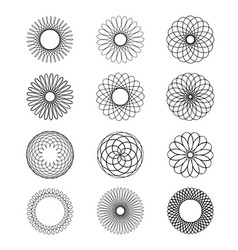 geometric circular ornament spirograph flower draw vector image vector image