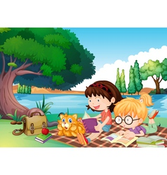 girls and a cat vector image vector image