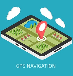 Gps mobile navigation with tablet or smartphone vector
