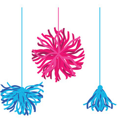 Happy colorful birthday party pom poms set vector