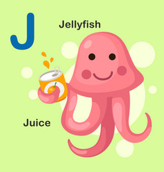 Isolated animal alphabet letter j-jellyfish juice vector