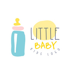 Little baby kids logo colorful hand drawn vector
