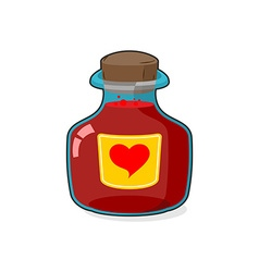 Love potion bottle glass vessel with wooden vector
