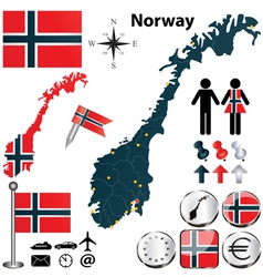Map of Norway vector image vector image