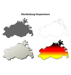 Mecklenburg-vorpommern outline map set vector