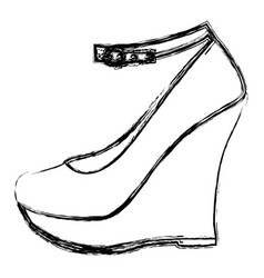 Monochrome blurred contour of high heel platform vector