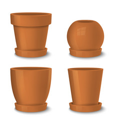 Realistic brown empty flower pot with plate vector