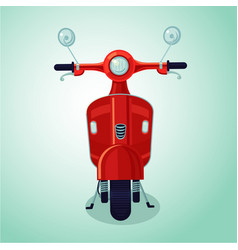 Red vintage moto scooter isolated cartoon vector