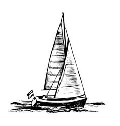 sailingboat sea yacht floats vector image