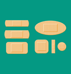 Set of aid medical plaster in various sizes vector