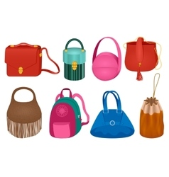 Set of fashion handbag vector image