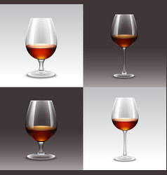 Set of wine glasses isolated vector