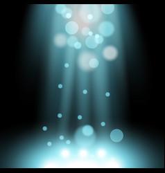 Spotlight light effect with sparks aqua color vector