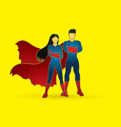 super hero man and woman standing vector image