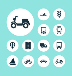 Transportation icons set collection of van way vector