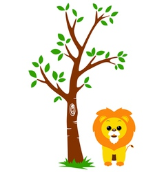Tree and Lion vector image vector image