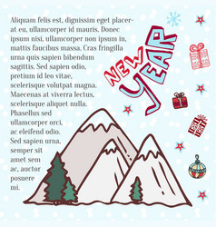 Winter mountains cute art for new year holidays vector