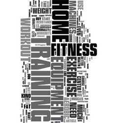 Workout and exercise equipment at home text word vector