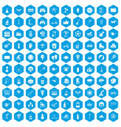 100 kids activity icons set blue vector image vector image