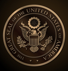 The great seal of the us gold vector