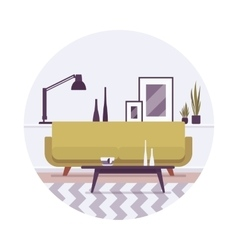 Retro interior a sofa lamp and pictures vector